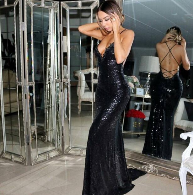Cheap prom dresses 2018 Sexy Mermaid Prom Dress,Sleeveless Sweep Train Black