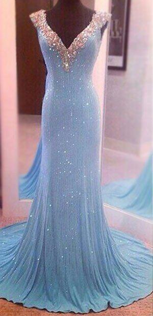 Largos Pretty V-Neck Prom Dresses,Chiffon Prom Dresses,Sequins Prom