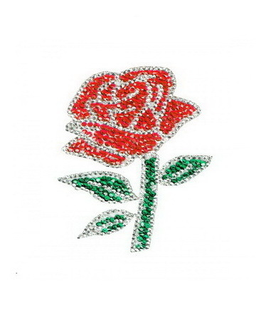 Diamond Rose Patch Embroidered Iron on Patches Clothes Appliques Sew Crafts