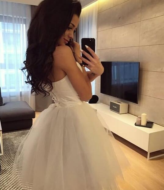 Simple White Ball Gown Prom Dress,Short Homecoming Dresses ,Short Prom Gowns