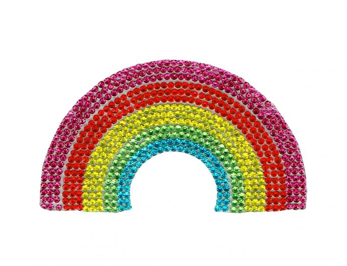 Rainbow Diamond Patch Embroidered Iron on Patches Clothes Appliques Sew Crafts