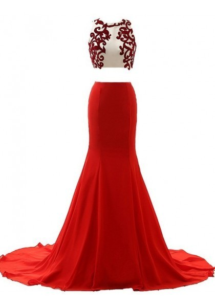 Prom Dress Formal Dress Two Piece Red O Neck Court Train Chiffon Crop Tops