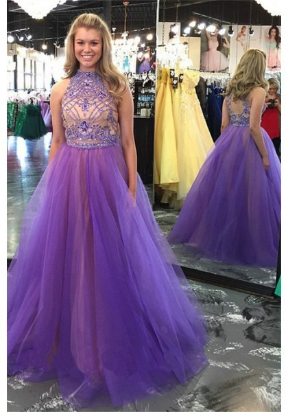Formal Dress Prom Dress Lilac High Neck Brush Train Tulle A Line Prom Evening