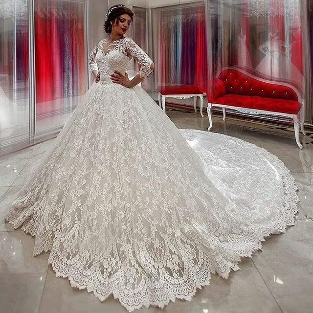 Lace Ball Gown Wedding Dresses Vestido De Novia Long Sleeves Bridal Gowns