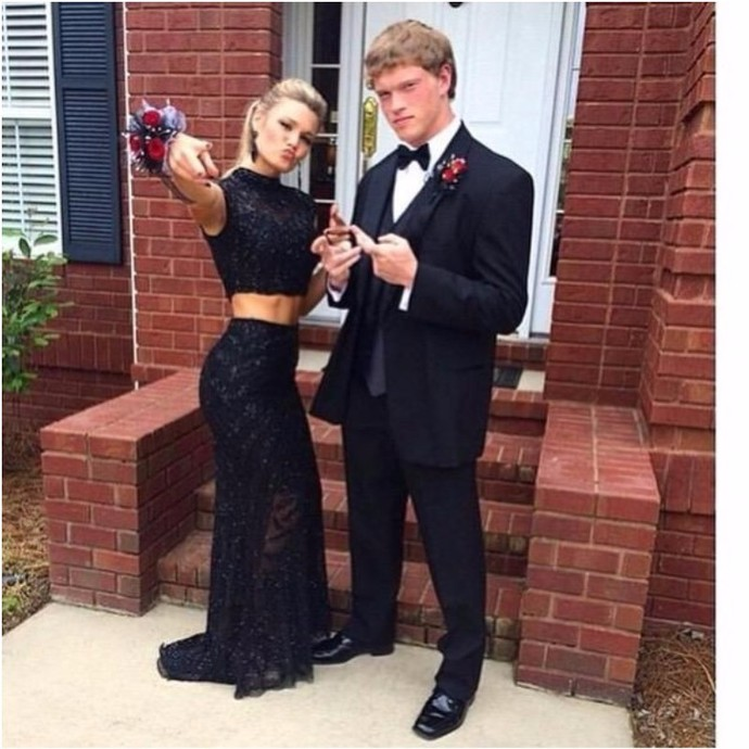 Formal Dresses Prom Dress Black Lace Two Piece Prom Dress With Beaded Bodice