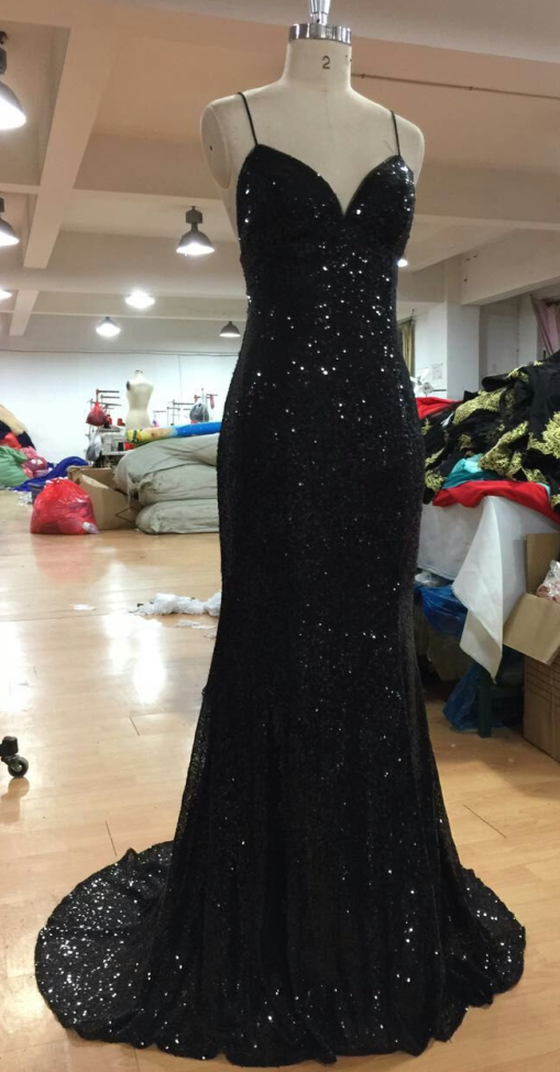 V Neckline Criss-Cross Backless Bling Bling Mermaid Prom Dress black Sequins