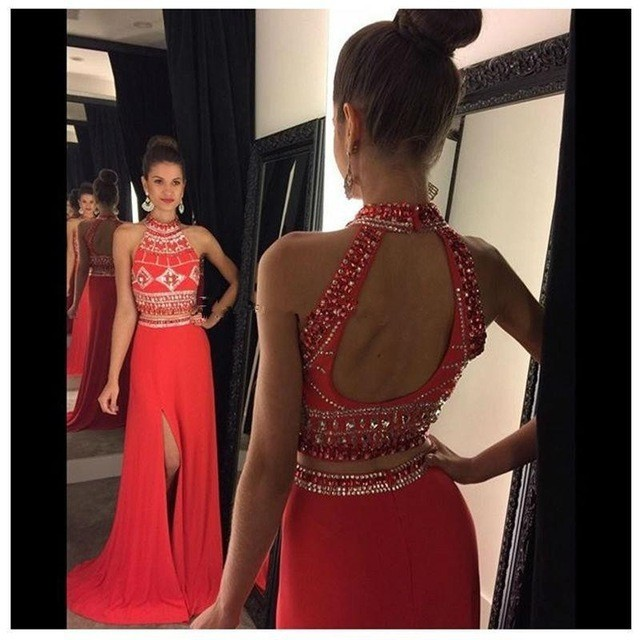 8d7420f604 Formal Dresses Prom Dress Red Two Piece Prom Dresses High Neck Beaded 2  Piece