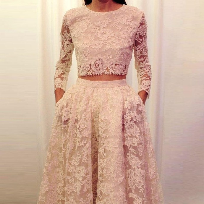 Formal Dresses Prom Dress Fashion Two Piece Prom Dresses Long Sleeves Lace 2