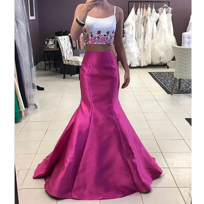 Two Piece Mermaid Prom Dress, Taffeta Formal Gown With Floral Embroidery