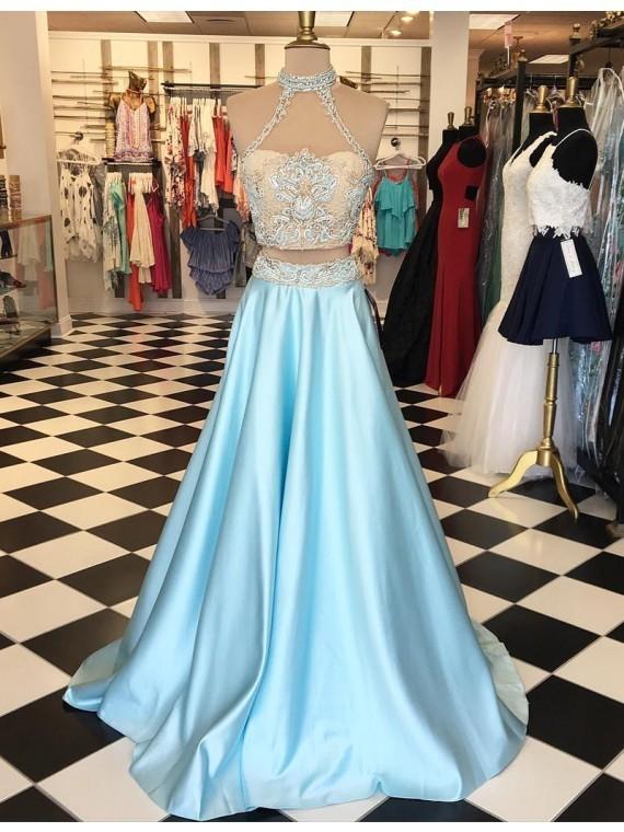 Cheap Prom Dresses 2018 Modern Two Piece Halter Floor-Length Light Blue Prom