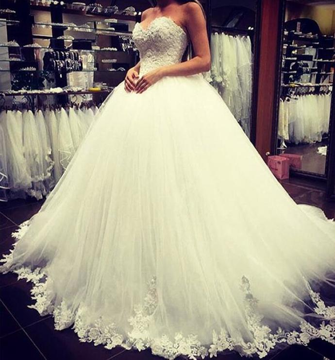 Sweetheart Lace Wedding Dress,Tulle Wedding Dresses,Cheap Wedding Dress,Ball