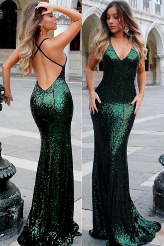 Dark Green Sequin Long Prom Dress