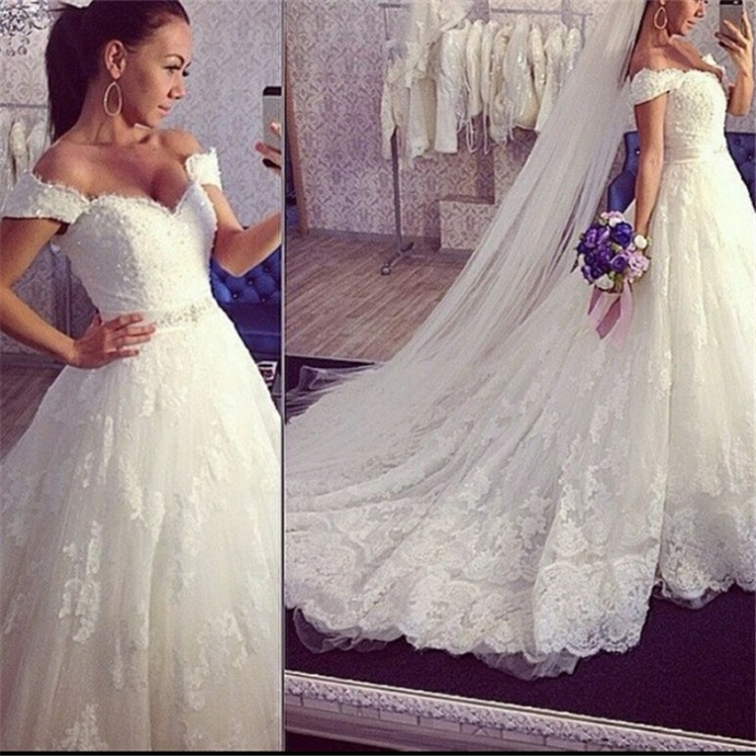 New Sexy V Neck White Beaded Lace Ball Gown Wedding Dress Bridal Gowns,Off