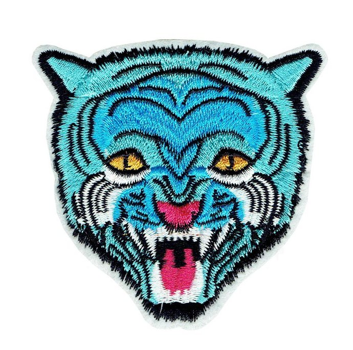 Blue tiger Patch Embroidered Iron on Patches Clothes Appliques Sew Crafts