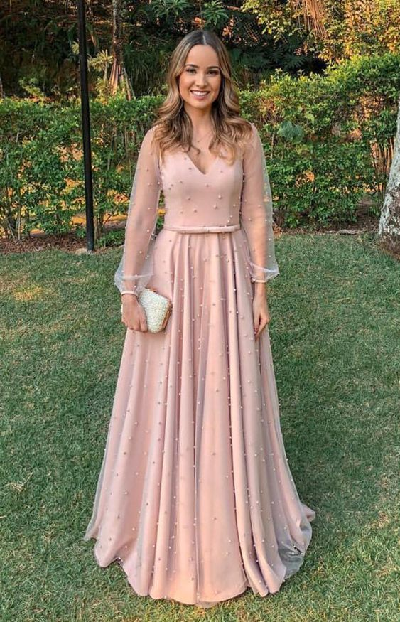 elegant blush long sleeves v-neck prom dresses, by Hiprom on Zibbet