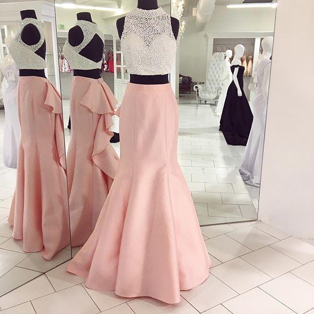 Cheap prom dresses 2018 Mermaid prom dresses Two Piece Long Prom Dress 2018,
