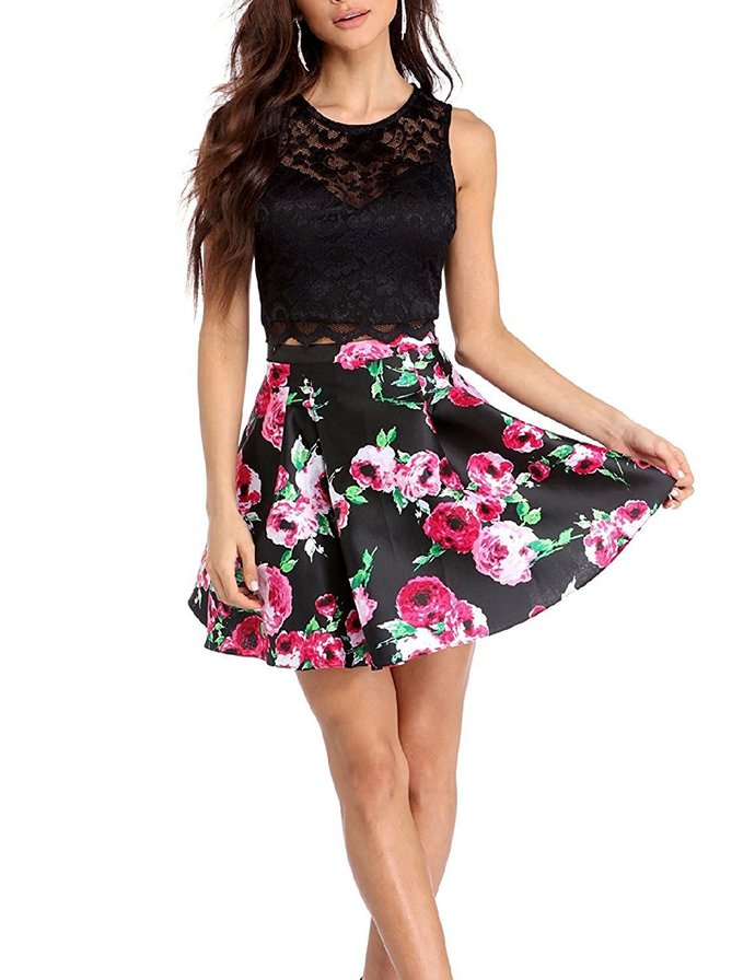Beautiful Floral Print Two Piece Homecoming Dresses  2018