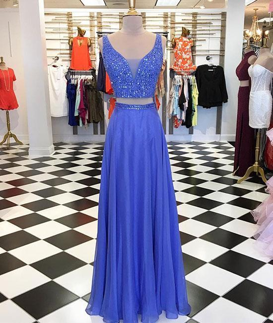 Blue Two Pieces Beads Long Prom Dress 2018