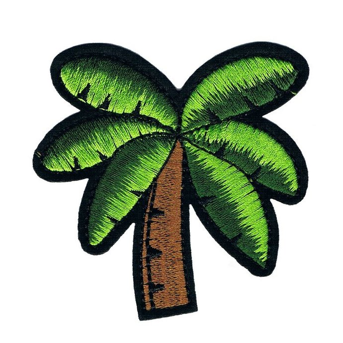 Green Coconut Trees Patch Embroidered Iron on Patches Clothes Appliques Sew