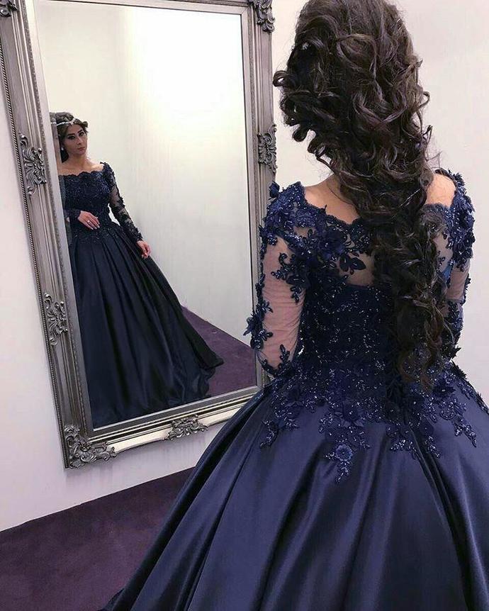 P79 Navy Blue Satin Wedding Dresses Ball Gowns Lace Long Sleeves Ball Gown Long Sleeve Prom Dress Off The Shoulder Long Sleeve Lace Prom Dre