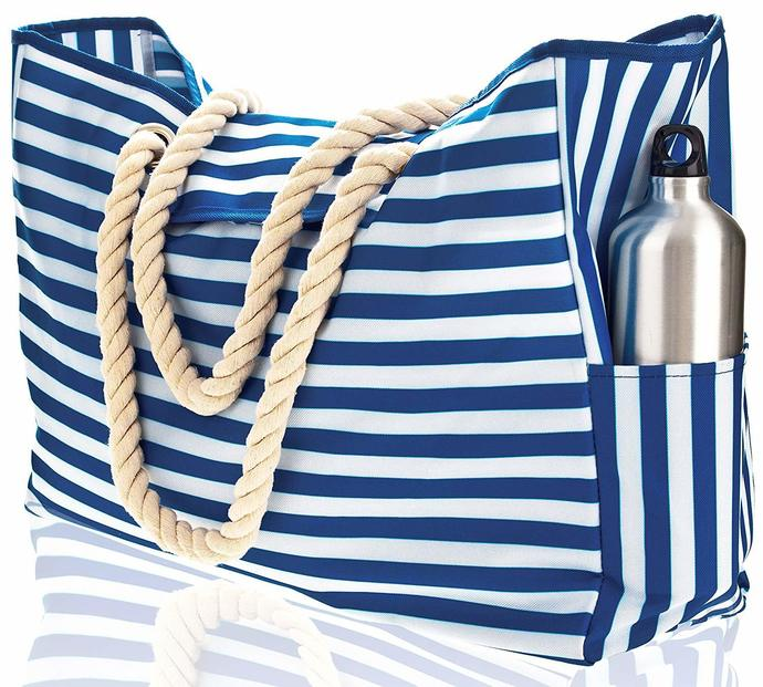 "Beach Bag XXL (HUGE). 100% Waterproof. L22""xH15""xW6"". Rope Handles, Top Magnet"