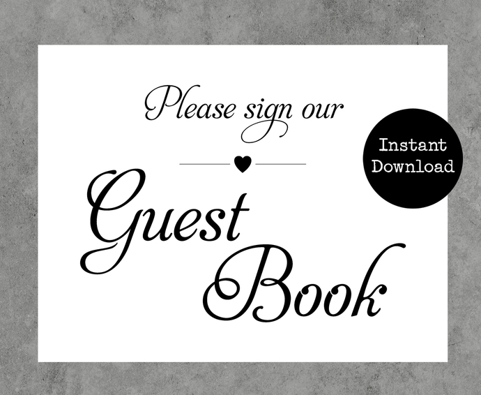 photo about Printable Guest Book called Marriage ceremony Printable Visitor E book Indication with Center
