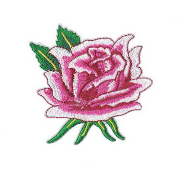 Pink roses Patch Embroidered Iron on Patches Clothes Appliques Sew Crafts