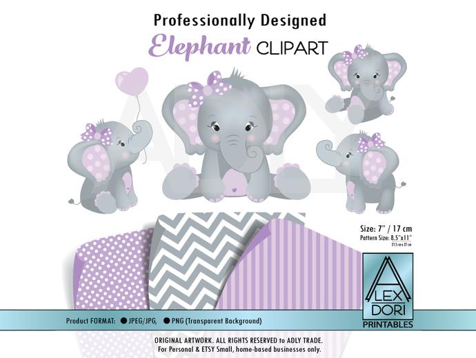 Elephant Clip art, Baby Girl Purple and gray peanut clip art, png file. Nursery,