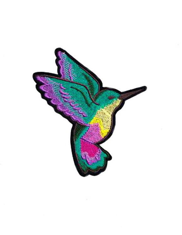 Purple Rainbow Nightingale Bird Embroidered Iron on Patches Clothes Appliques