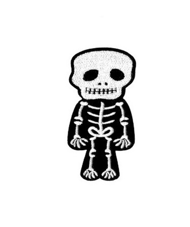 Male Skeleton Patch Embroidered Iron on Patches Clothes Appliques Sew Crafts