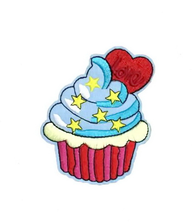 Lovely Cupcake retro Patch Embroidered Iron on Patches Clothes Appliques Sew