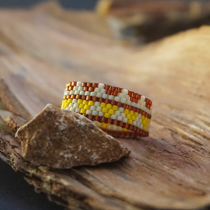 Boho rings for women, Beaded ring, Fashion rings, Tribal ring, Hippie ring Wide