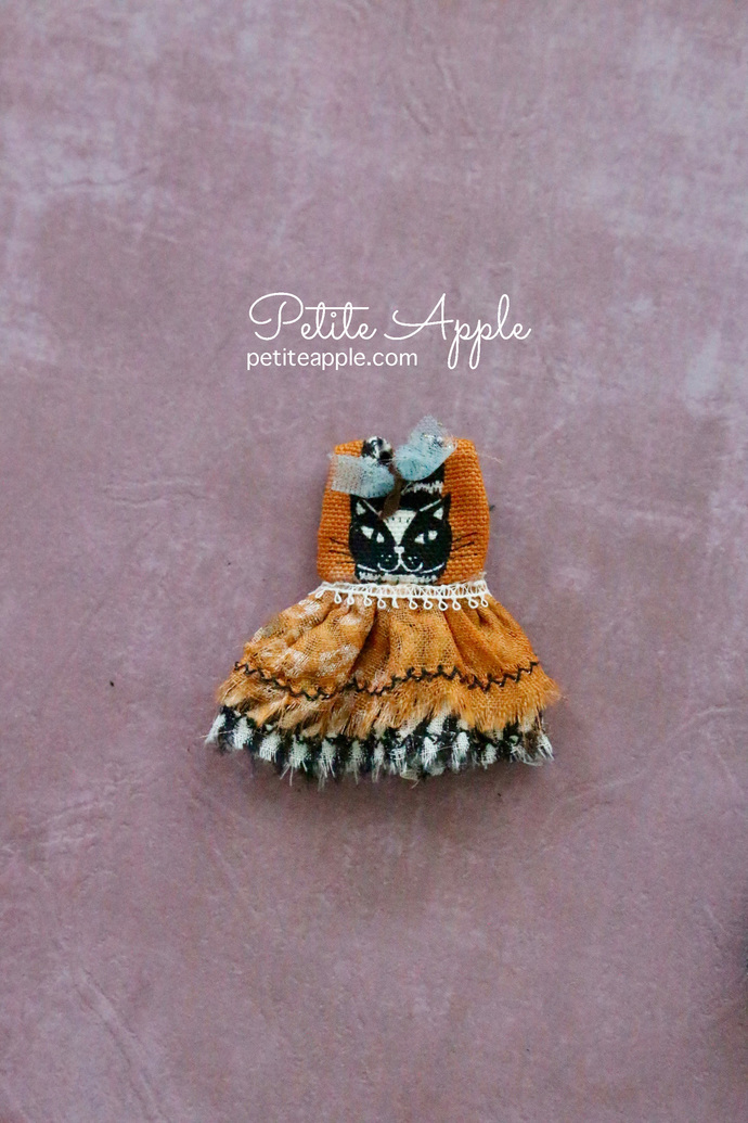 PETITE BLYTHE Orange cat Dress