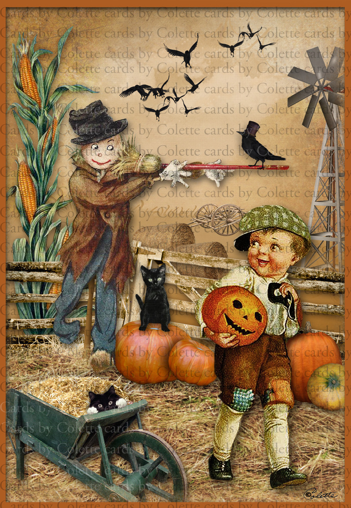 Halloween Boy and Scarecrow Digital Collage Greeting Card2025