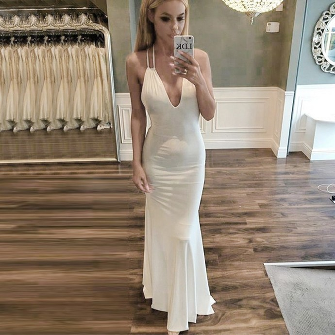 Mermaid Style V-neck Backless Sweep Train White Prom Dress Cheap prom dresses