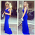 Royal Blue Prom Dresses,Royal Blue Prom Dress,Silver Beaded Formal Gown,Beadings