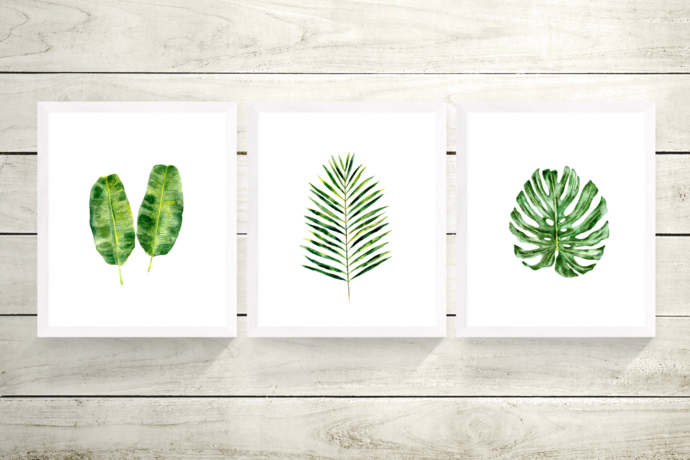 Tropical Set of 3 Prints, Tropical Wall Art, Set of 3 Wall Art, Green Leaf