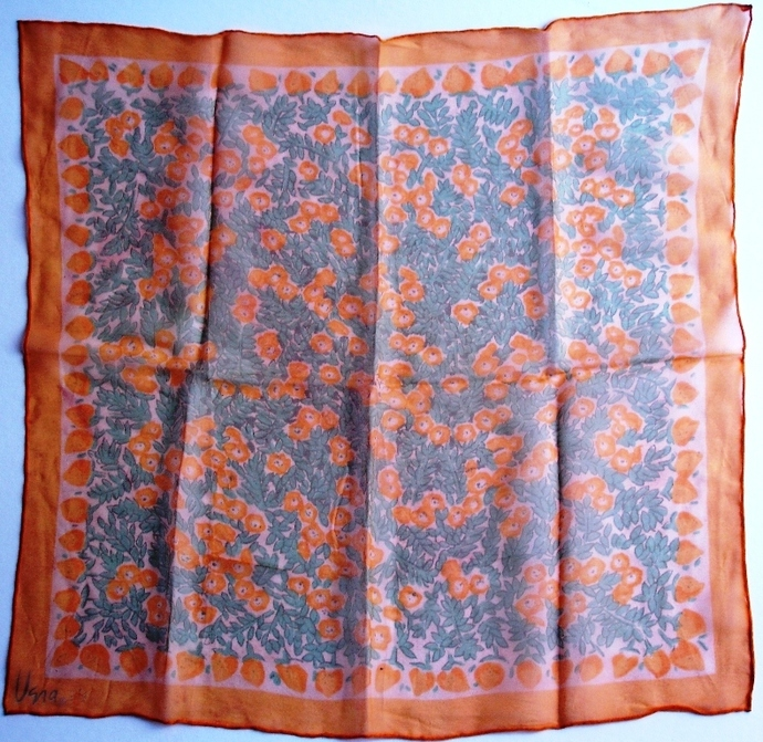 Vera Neumann Verasheer Floral In Yellow Peach And Green Ladybug Scarf