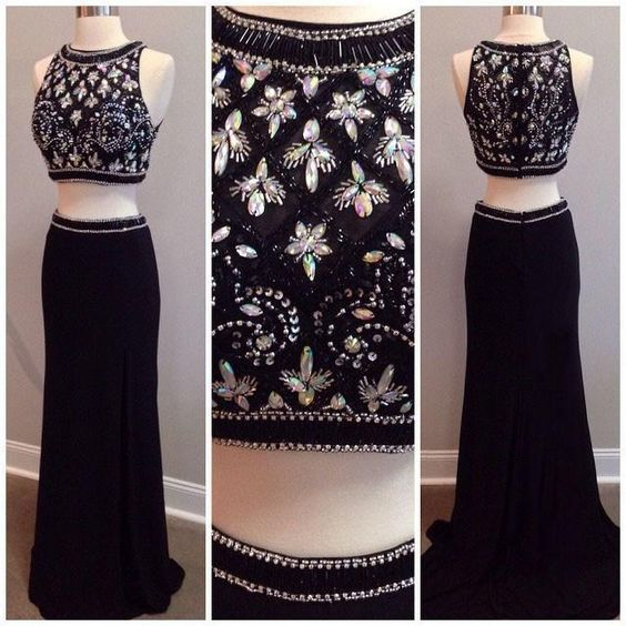 Charming Prom Dress,Beading Prom Dress,2 Pieces Prom Dress,Satin Evening Dress