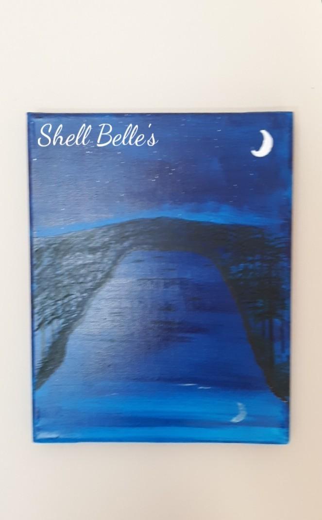 Moon lit lake painting