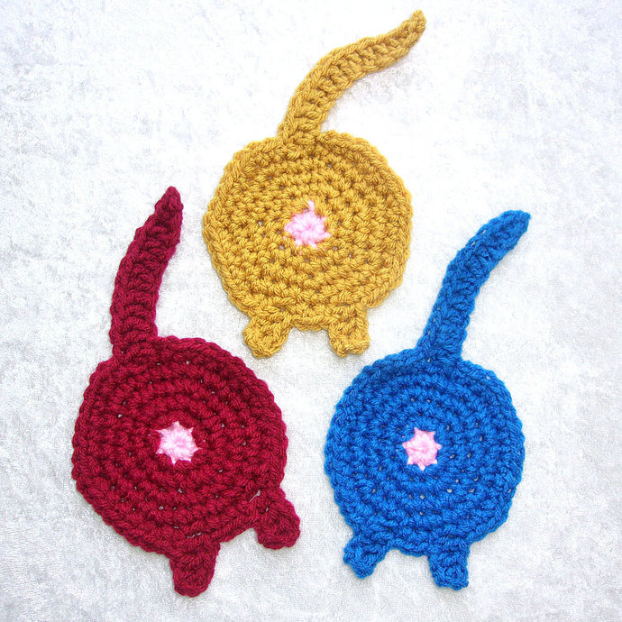 Cat Butt Coasters, Crocheted in Red, Blue and Gold Colors - set of 3, large size