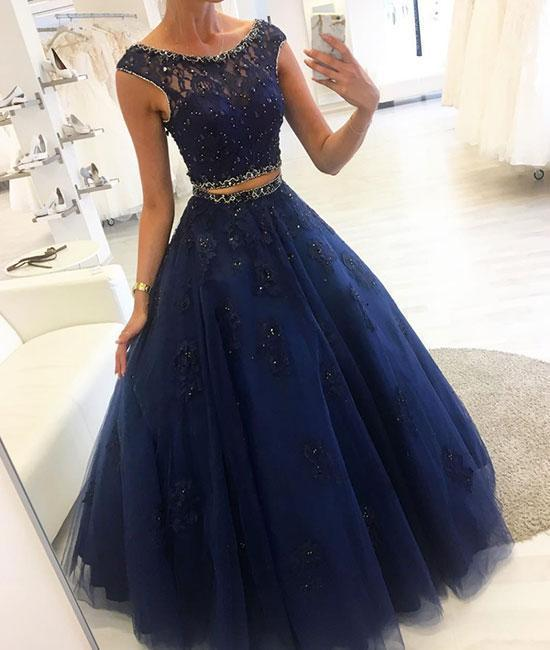 341ae7e22b9 Dark blue two pieces lace long prom dress, blue by lass on Zibbet