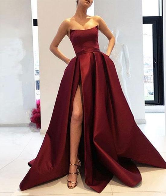 Simple burgundy satin long prom dress, burgundy evening dress