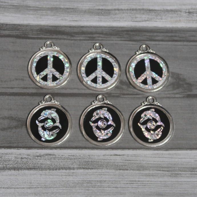 6 Ying Yang and Dolphin pendant charms