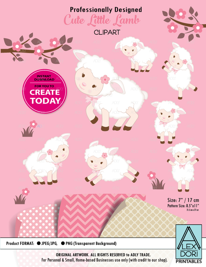 Cute Baby Lamb Clipart Pink and Cream Wooly Babygirl