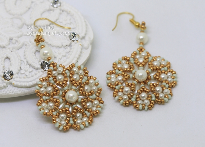 PDF Tutorial - Marianne Earrings Instant download Beadweaving Instruction
