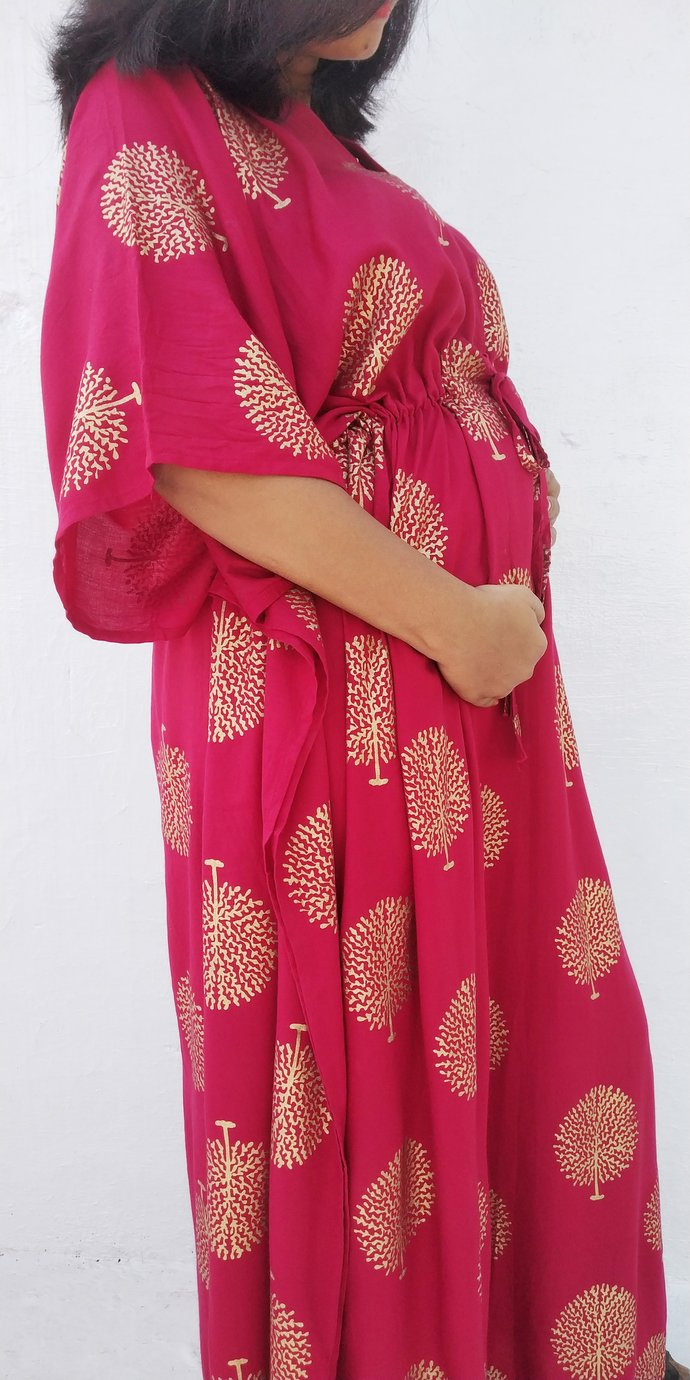 Red Maternity Hospital Gown By Womens Kaftan Clothing On Zibbet