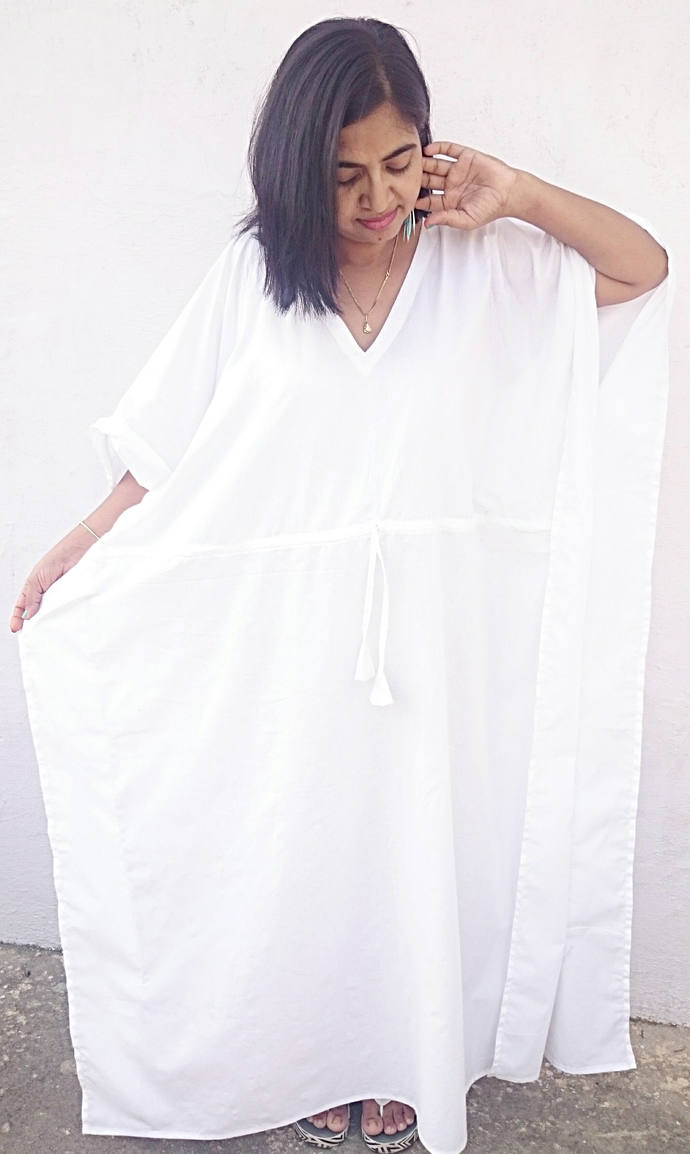 maternity robe, white, Birthing by women\'s kaftan clothing on