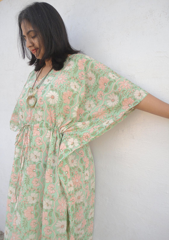White Floral birthing gown, labor by women\'s kaftan clothing on