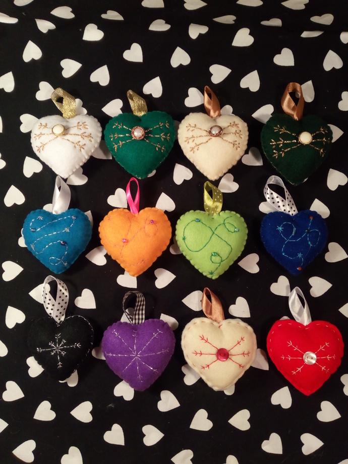 Christmas themed Heart Ornaments